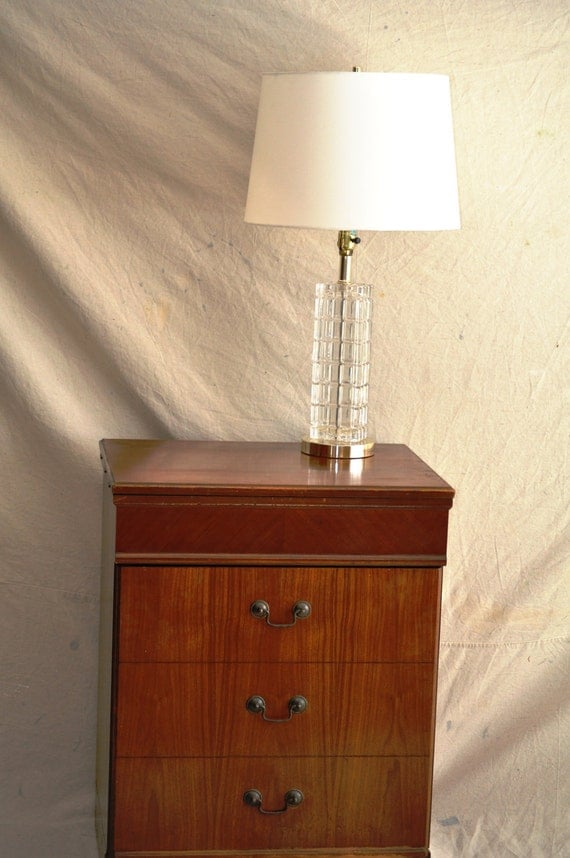 Rectangular Glass Lamp in Goldtone / Mid-Century Cut Glass Table Lamp