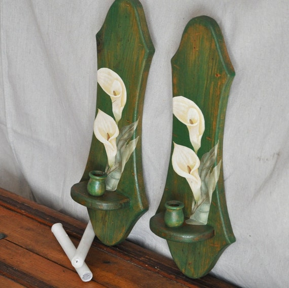 Candle Wall Sconces Calla Lilly Decoupaged Green Distressed Vintage Candle Wall Sconces