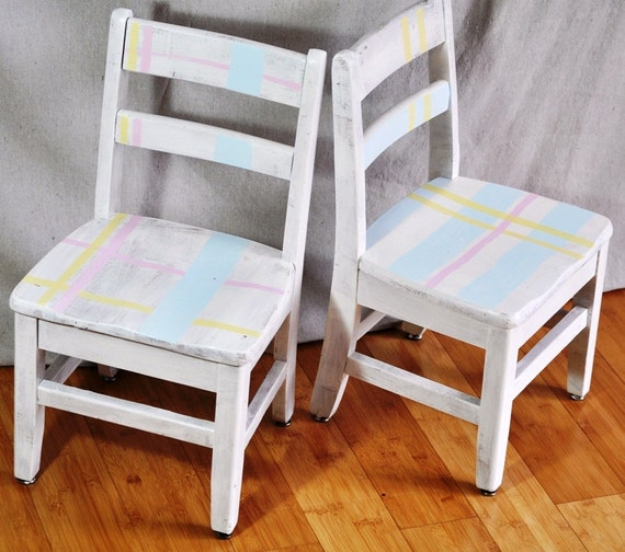 Kid's Painted Chairs. Pastel Plaid Shabby Chic Children's Chair Set of 2