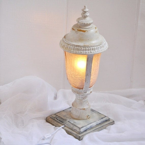 Upcycled Lamppost Light in Crackled Antique White & Marigold Yellow w/Distressed Black Base