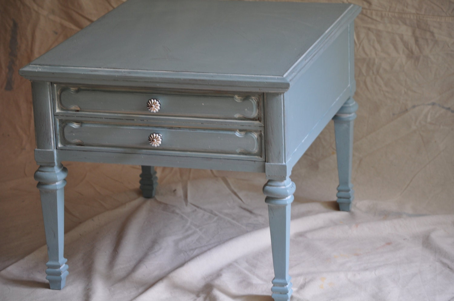 Aqua Shabby Chic Coffee End Table Vintage Heritage Hand