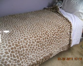Twin Size Bed Cover - Super Soft - Made with Giraffe Print Minky Material