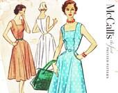 1950s Bust 38 Misses Dress Sundress Vintage Sewing Pattern Square Neckline Sleeveless McCalls 9290 c 1953 UNCUT 50s