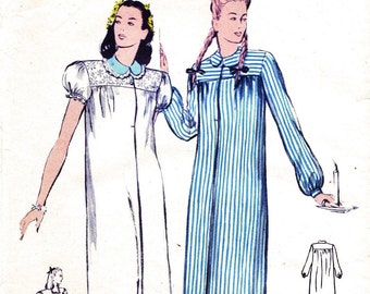 1940s Bust 30 Misses Nightgown Pajamas Vintage Sewing Pattern Butterick 3116 c 1944 40s