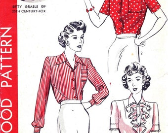 1940s Bust 32 Misses Blouse Detachable Jabot Vintage Sewing Pattern Betty Grable Hollywood 953 c 1942 40s