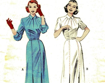1950s Bust 32 Misses Dress with Saddle Stitch Accents So Adorable c 1952 50s Butterick 6291