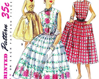 1950s Bust 32 Misses Dress Vintage Sewing Pattern Sleeveless Day Full Skirt Simplicity 1084 c 1955 50s