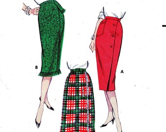 Butterick 8638 Waist 25 Misses Wiggle Set of Skirts slim sheath with wrap around front Asymmetrical c 1958