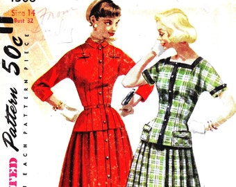 1950s Bust 32 UNCUT Misses Dress Two Piece Vintage Sewing Pattern Drop Waist Blouse Skirt Pleated Kimono Sleeves Simplicity 1308 c 1955 50s