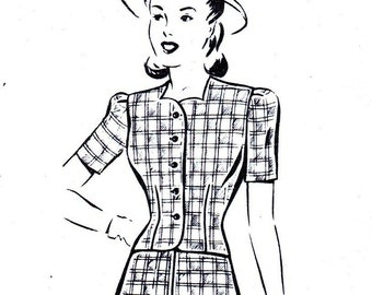1940s Bust 34 Misses Dress Sundress Sleeveless High Waist Bolero Jacket Vintage Sewing Pattern Mail Order 8138 c 40s