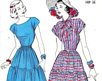 1940s Bust 32 Misses Dress Day Evening Bow Collar Flounce Vintage Sewing Pattern Advance 4858 c 1947 40s
