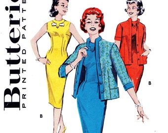 Butterick 8637 Bust 31 1/2 Misses Wiggle Dress Sleeveless with Jacket Cardigan Bow Detail c 1958 UNCUt