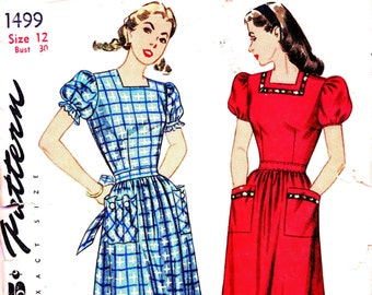 1940s Bust 30 Misses Dress Puff Sleeve Square Neckline waist Tie Vintage Sewing Pattern Simplicity 1499 c 1946 40s