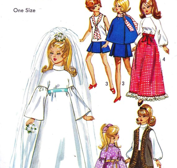 Simplicity 9097 Size 11 1/2 Doll Wardrobe Barbie Julia Maddie Mod Doll Wedding Dress Cape Blouse Pants c1970