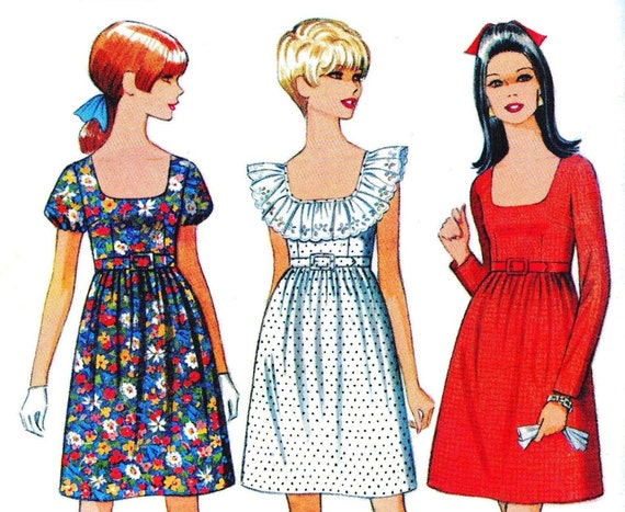 1960s Bust 30 Misses Junior Dress Mini Vintage Sewing Pattern Sleeveless High Waisted Round Neckline Ruffle Mccalls 9197 c 1968 UNCUT 60s