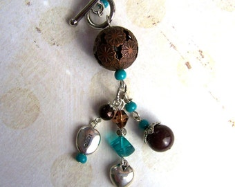 brown, turquoise and silver necklace