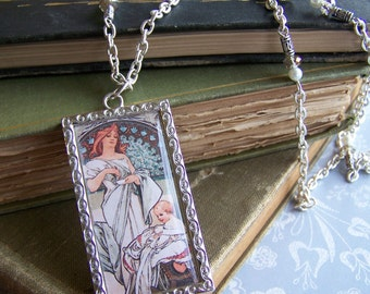Alphonse Mucha mother and child image silver plated necklace
