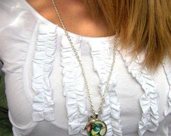 vintage bluebird silver pendant necklace