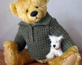 Open Neck Jumper with Collar - Knitting Pattern PDF - BONUS free 16 inch Teddy Bear Pattern