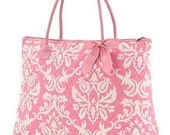 Personalized pink damask quilted tote purse great wedding bridal shower gift flowergirl bag monogram