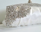 LAST ONE - Ivory white satin evening bridal clutch purse with rhinestone crystals