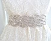 "SALE - 2"" wide Bridal crystal sash, crystal belt, wedding belt, beaded wedding belt, - WAVERLY DELUX - ships in 1 week"