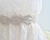 """Beaded bridal belt, 1.5"""" or 4cm wide bridal crystal sash, crystal belt, wedding belt, wedding sash WAVERLY II - Ships in 1 week"""
