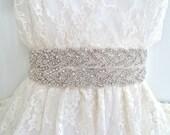 DEANNA DELUX - Bridal Crystal Sash, beaded rhinestone sash, beaded wedding belt - Ships in 1 week