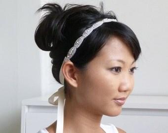 BEST SELLER - Darla Beaded rhinestone headband, bridal ribbon headband, crystal headpiece, bridesmaid headpiece, bridesmaid gift