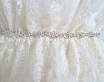 MONA - Thin Bridal rhinestone belt, dainty crystal sash, thin crystal belt, thin wedding belt, dainty wedding sash, bridesmaid gift