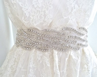 "SALE - 2"" wide Bridal crystal sash, crystal belt, wedding belt, beaded wedding belt, - WAVERLY DELUX - ships in 1 week"