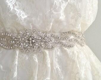 DELIA DELUX - Bridal sash, beaded crystal sash, rhinestone belt, wedding sash - Ships in 1 week