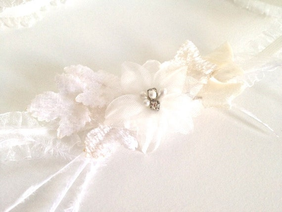 Ivory white feather garter with Swarovski crystals and Something Blue - Greta