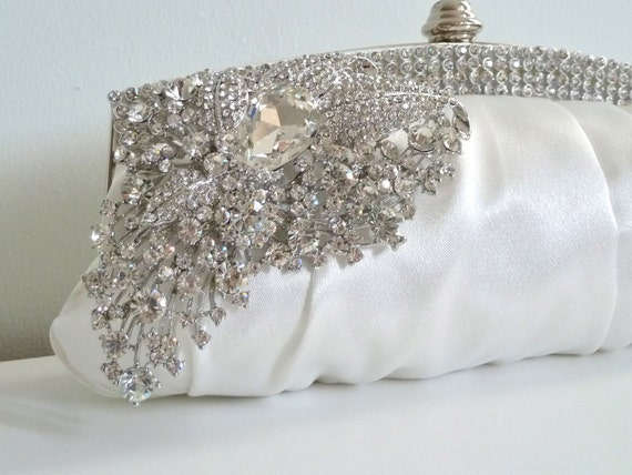 LAST ONE - Ivory white satin evening bridal clutch purse with rhinestone crystals