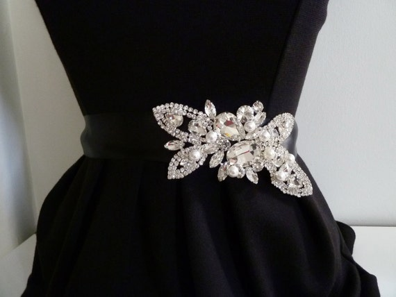 RHONA DELUX  - Bridal crystal belt with side rhinestones, pearl crystal sash, pearl wedding belt - ships in 1 week