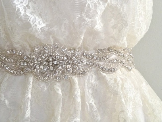 DELIA DELUX - Bridal sash, beaded crystal sash, rhinestone belt, wedding sash - Ships in 1 week