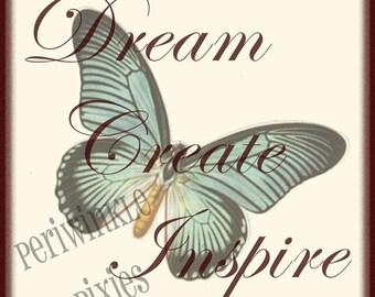 Dream Create Inspire Typography PRINTABLE