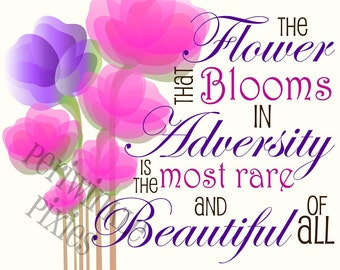 Flower in Adversity - Typography Printable 11 x 14