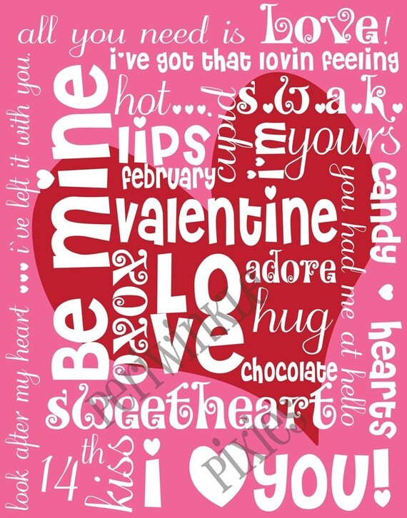 Schön Be Mine Valentine Subway Art Typography PRINTABLE 11 X14