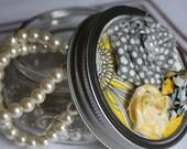 Embellished Shabby Chic Mason Jar with Fabric Flowers