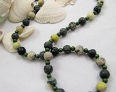 River Pebbles Necklace: serpentine, yellow turquoise (free US shipping)