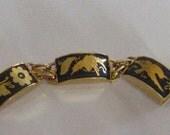1930s Vintage Gold Damask link BRACELET w birds flowers fish Rare Find