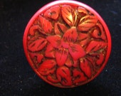 unusual Vintage Carved RED Ring Upcycled Recycled Altered Art