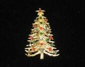Large Vintage 1950s Christmas Tree Brooch Pin 50s xmas rhinestones