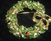 1/2 OFF  1950s Vintage WREATH Christmas Brooch Pin 50s xmas Red Clear rhinestones and leaves
