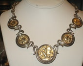 Vintage 1960's does Roman Coins Necklace Heavy Chunky Ancient Style