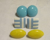 Lot of 3 pairs of 1980s Earrings Blue Striped Yellow