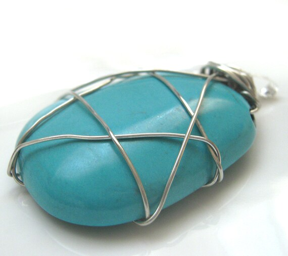 Star of David Pendant - Unisex Jumbo wire wrapped pendant from blue magnesite