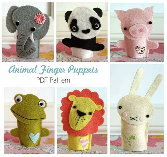 frog finger puppet template - animal finger puppet patterns pdf by helloclementine on etsy