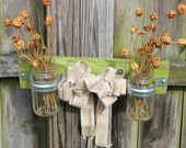 Upcycled Wall Decor Flower Holder Burlap Ribbon Wall Vase